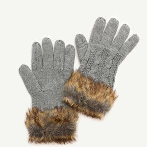 Gray faux fur gloves